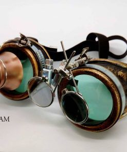 Steampunk goggles verdes con lupe y doble lupe